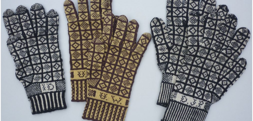 Three pairs of Sanquhar gloves in the 'Duke' pattern from the collection of the Knitting & Crochet Guild of the UK. Knitters unknown, circa 1960s-70s. Yarn: wool, 12 stitches and 14 rows/inch. (Photo: Angharad Thomas, courtesy Board of the KCG)