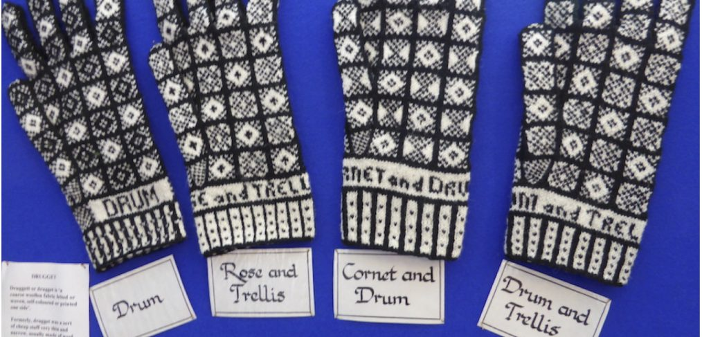 These gloves were knitted by May McCormick of Sanquhar and are shown on display in the A' the Airts Centre in Sanquhar at a study day in November 2014. (Photo: Angharad Thomas, with permission from May McCormick)
