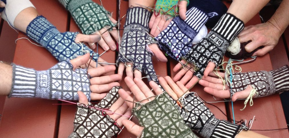 Gloves under construction at a Beth Brown-Reinsel retreat, 2014. (Photo: Beth Brown-Reinsel)